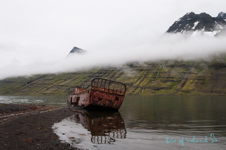 Ship wreck in Mjoifjordur, Iceland