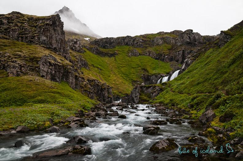 Klifbrekkufossar Waterfall in Mjoifjordur, Iceland