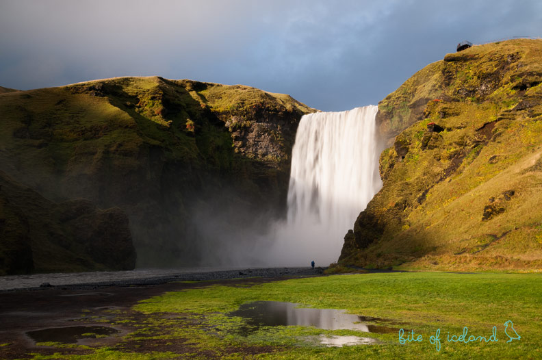 Skogafoss waterfall at dusk, Iceland