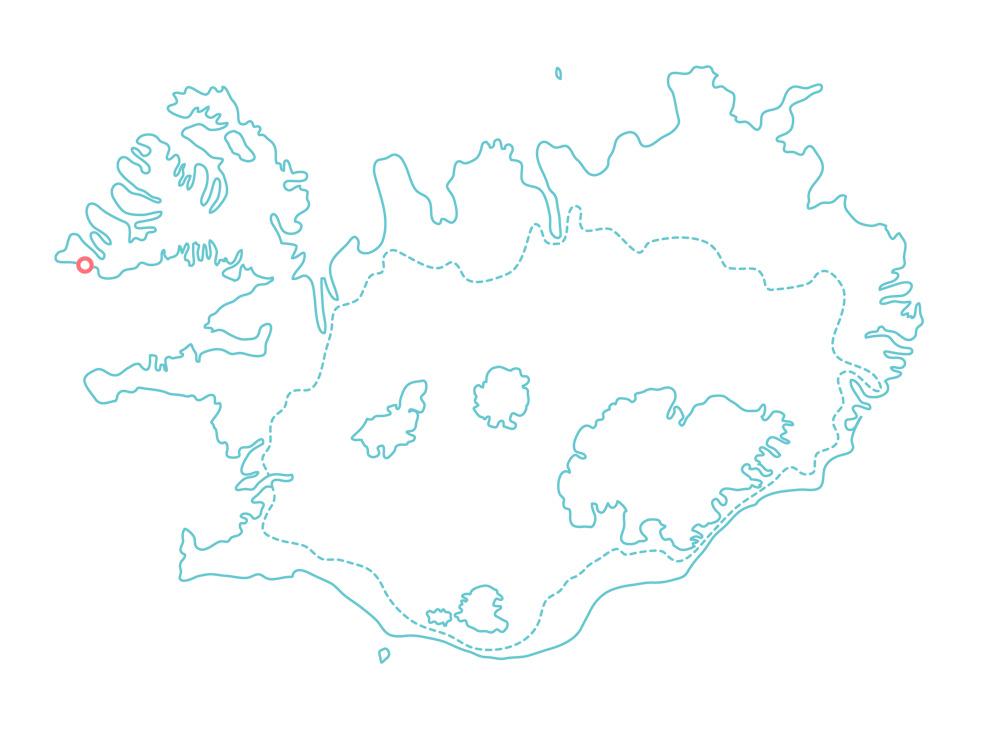 Iceland Map Raudisandur | Red sand beach | Westfjords