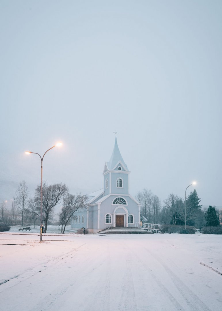 Bláa Kirkjan (Blue Church) in Seydisfjordur in the winter, Iceland