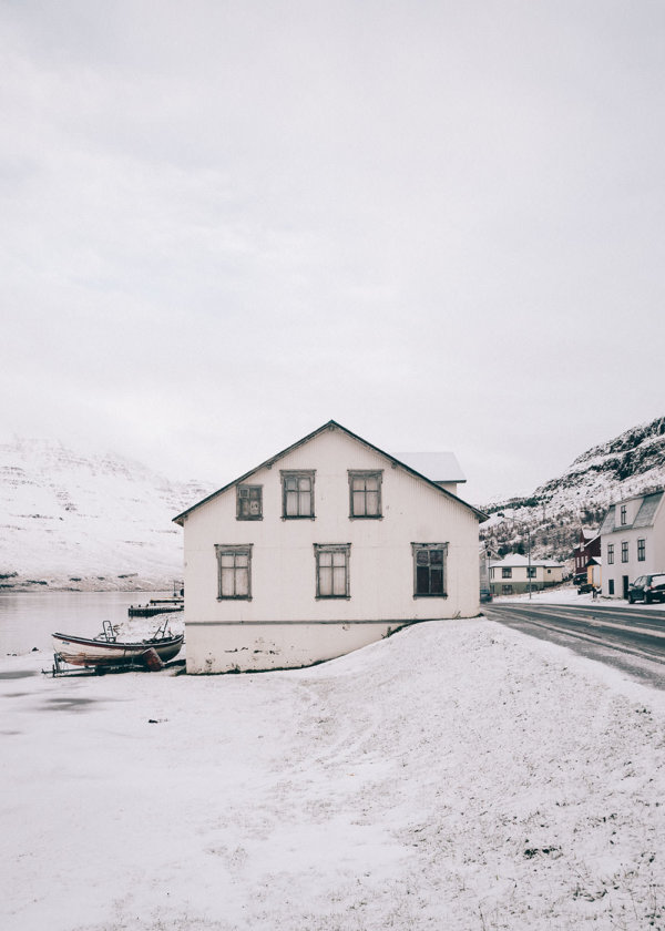 House by the road in Seyðisfjörður in the winter, Iceland