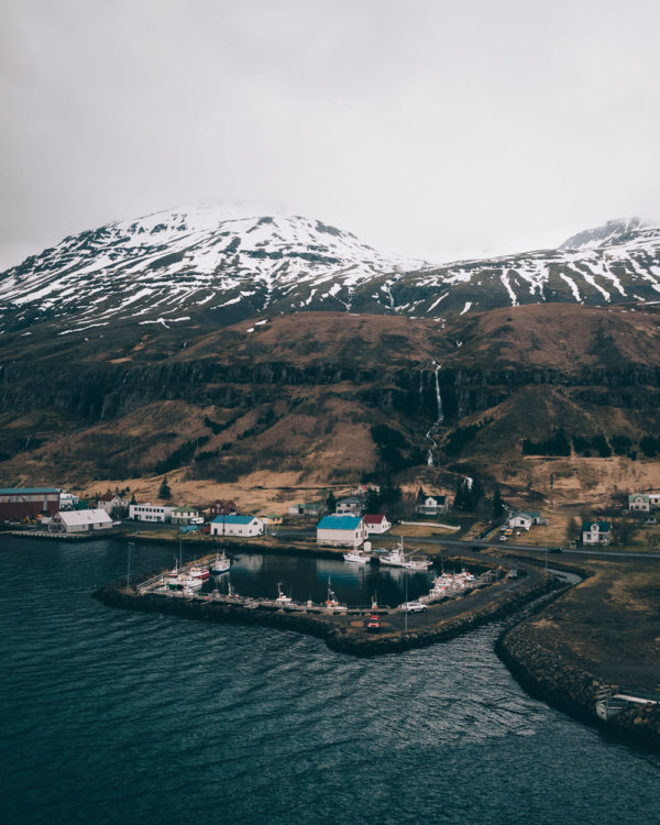 View over the fishing harbour in Seydisfjordur, Iceland