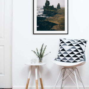 Scandinavian print depicting fabulous Icelandic rock formations Londrangar. Check out our Nordic prints and posters!