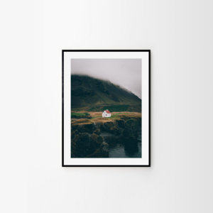Scandinavian art print of a charming Icelandic house by the ocean at Arnarstapi. Check out original Scandinavian prints by Adam Biernat.