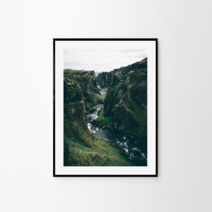 Scandinavian print of one of the most impressive Icelandic canyons – Fjaðrárgljúfur. Check out original Icelandic prints by Adam Biernat at Bite of Iceland.