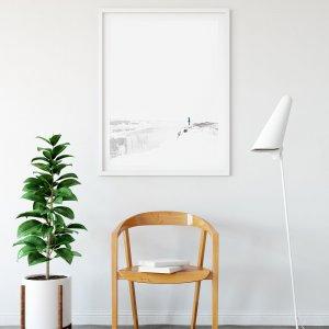 Plakat na ścianę do salonu w stylu skandynawskim przedstawiający zamieć śnieżną nad islandzkim wodospadem Dettifoss. Do wyboru: plakat 50x70 i plakat 30x40. Zobacz nasze skandynawskie dodatki.