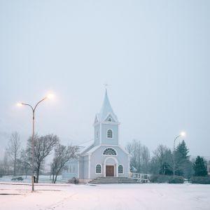 Scandinavian art - Iceland print of the Blue Church (Blaa Kirkjan) in Seydisfjordur