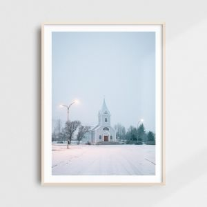 Scandinavian art - Iceland print of the Blue Church (Blaa Kirkjan) in Seydisfjordur