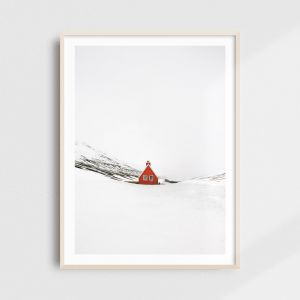 Scandinavian art - minimalist Iceland print of a red cabin