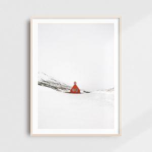 Scandinavian art - minimalist Iceland print of a red cabin