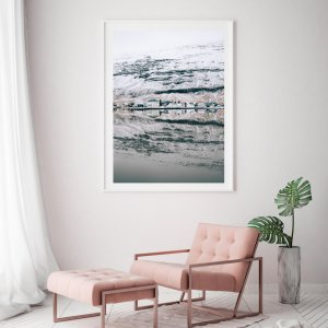 Scandinavian print of Icelandic town of Seydisfjordur in the winter, reflecting in the water. Check out Scandinavian prints and wall art by Adam Biernat.