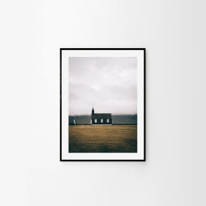 Scandinavian print of an Icelandic black church in the middle of nowhere (Budir). Check out Scandinavian prints by Adam Biernat at Bite of Iceland.